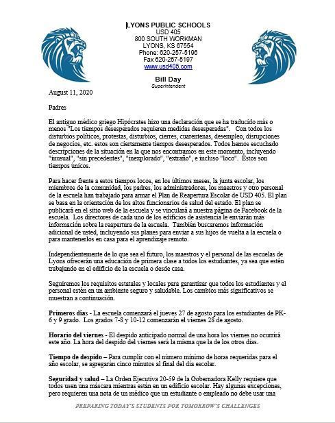Letter to Parents (Spanish)