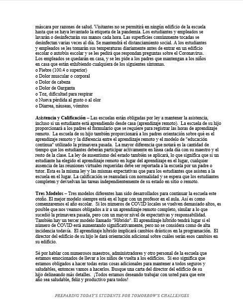 Letter to Parents Spanish